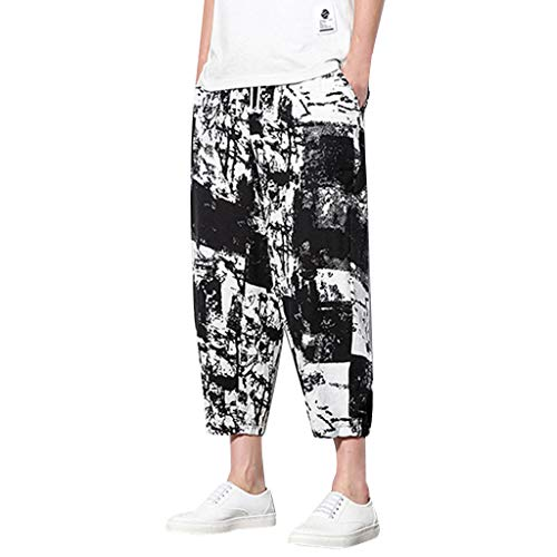 (Mens Sweatpants, F_Gotal Men's Casual Ink Print Linen Sports Running Jogger Ankle-Length Pants Trouser with Pockets Black)