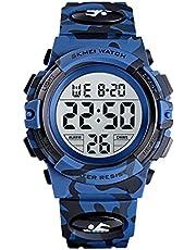 SKMEI Kids Watches Flash Lights 50m Waterproof Chronograph Digital Boys Girls Sports Watches Blue