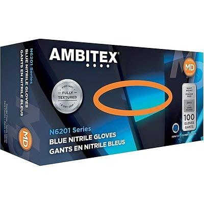 Ambitex N6201 Series Powder Free Blue Nitrile Gloves, Medium, 100/Pack, 10 Packs/Carton (NMD6201) by Ambitex
