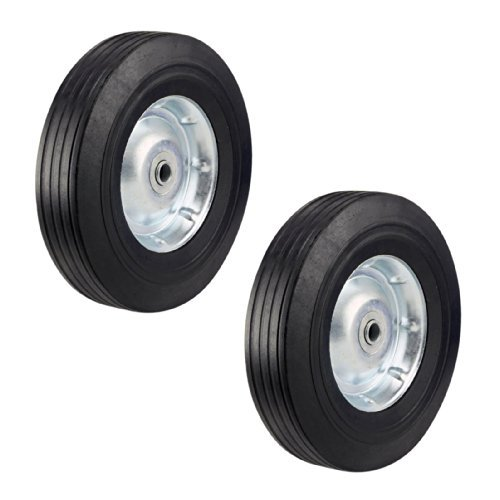 Two Heavy Duty Never-Flat 10-Inch Solid Hard Rubber Hand Truck Wheels - Fits 5/8'' Axle