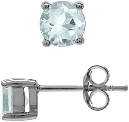 Petite Genuine 5MM Aquamarine White Gold Plated 925 Sterling Silver Stud Earrings