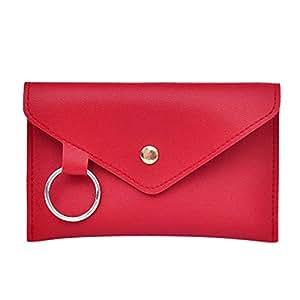 Wultia - Pure Color Ring Leather Messenger Shoulder Bag Chest Bag #M09 Red