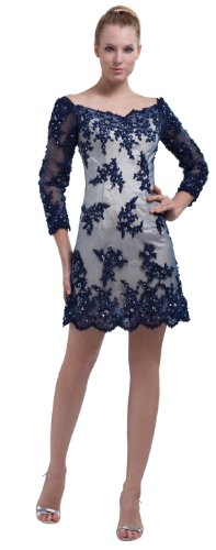 herafa p31922-8 Prom Dresses Gorgeous V-Neck 3/4 Sleeve Hand-Sewn Beads Lace Applique mini Sheath Blue