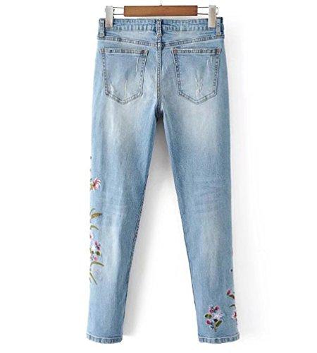 Jeans Di Ricamo Fiori Denim Strappato Donne Wanyang Donna Foro Blu Strappati nwHgYxq