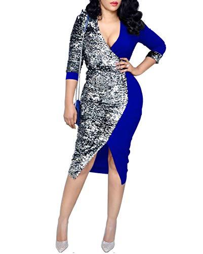 (IyMoo Women Flapper Dress - V Neck Sexy Sparkly Split Cocktail Party Dress Blue)