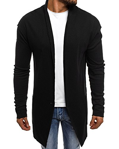 EastLife Mens Cardigan Sweater Shawl Collar Open Front Long Sleeve Jacket Vintage Coat