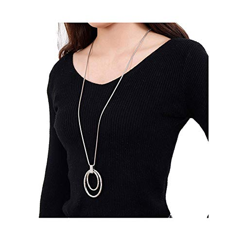 Silver Pendant Necklace Jewelry - Long Sweater Chain Double Circle Pendant Necklace Bold Snake Chain Women Statement Necklace (Silver-tone)