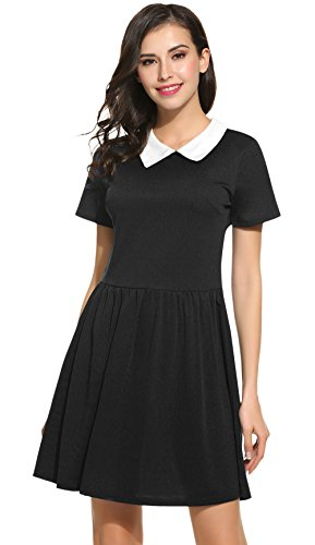 POGT Women's Short Sleeve peter pan Collar Dress (M, Black) (Black Dress Halloween Costumes)