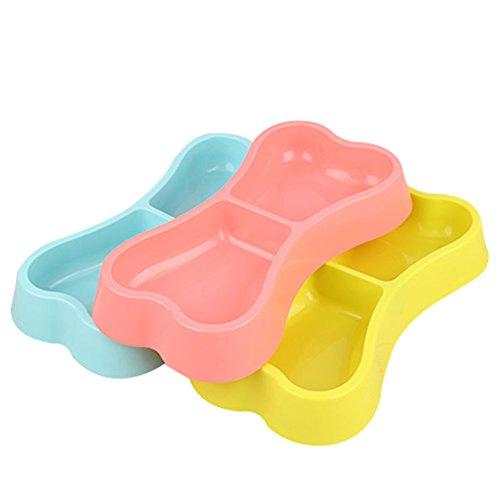 Hestio Pet Dog Food Water Dish Feeder Bone Shaped Feeding Double Plastic Bowl (RANDOM COLOR)