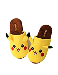 Cartoon Pikachu Boy Girl Slippers Plush Winter Warm Home Floor Slippers Unisex Sandals
