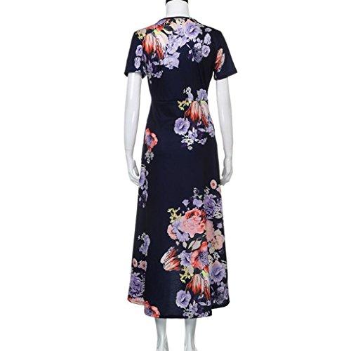 DOLDOA Mujeres V cuello Boho largo Maxi noche vestido de playa de la fiesta Floral Sundress Armada