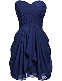 Womens Short/Long Chiffon Sweetheart Bridesmaid Dresses Prom Gowns Pleats
