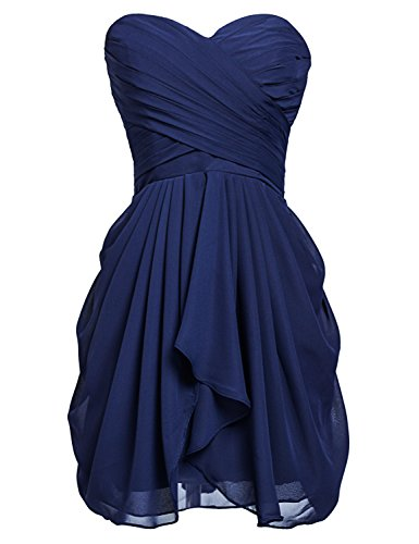 Sarahbridal Juniors Short Chiffon Bridesmaid Dresses Pleats Prom Party Gowns Navy Blue US12