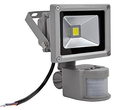 10W Foco LED con Sensor Movimiento,ALPHA DIMA Foco Proyector con Iluminación LED y PIR