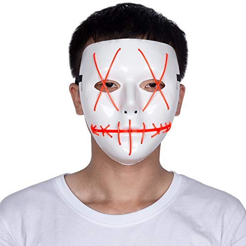LED Light Up Mask, The Purge Election Year Festival Costume Cosplay Led Mask El Wire Light Up Mask for Festival Parties (Red)