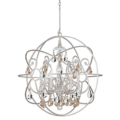 - Crystorama 9028-OS-GS-MWP Solaris - Six Light Chandelier, Olde Silver Finish with Golden Majestic Wood Polished Crystal