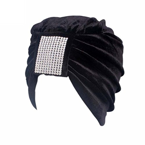 Hunputa Womens Hat Winter, Vintage 20s 30s 50s Twist Pleated Velvet Knotted With Crystal Stretch Turban Hat Head Wrap (Black)
