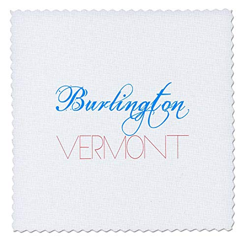 3dRose Alexis Design - American Cities - Burlington, Vermont Patriotic, Decorative, Blue, red Text on White - 8x8 inch Quilt Square (qs_294808_3) -