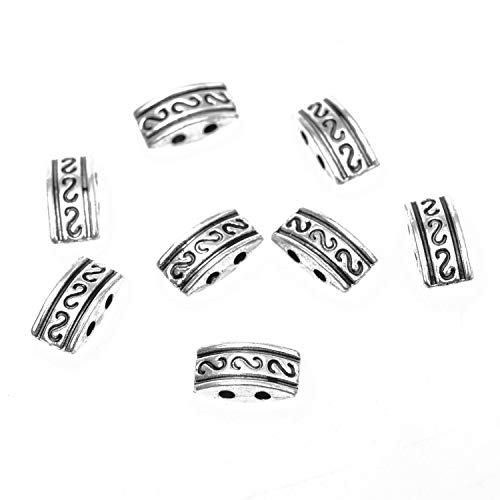 Monrocco 100 Pcs Antique Silver 2 Strand Spacer Beads Rectangle Spacer Bar Metal Beads for Bracelets Jewelry ()