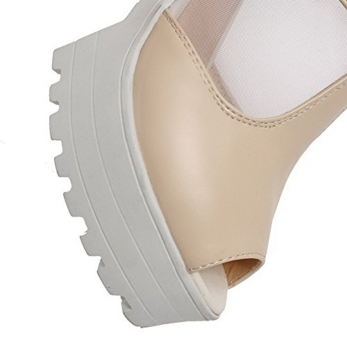 AgooLar Women's Peep Toe Zipper Pu Solid High Heels Sandals Beige GV4KiBfUqH