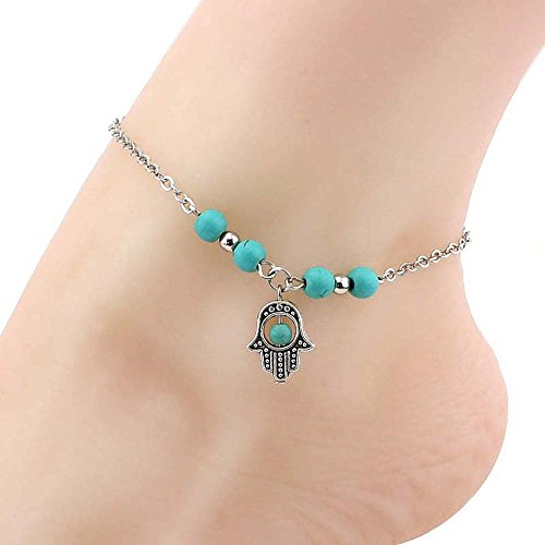 Loweryeah 1Pc Hand-Shaped Section Bohemian Fatima Palm Leaf Green Turquoise Beaded Anklets Of Fatima