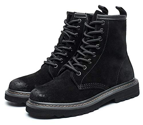 Ankle DADAWEN Women's Boots Lace Suede up Black wPPIqr