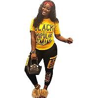 Womens Plus Size Tracksuit 2 Piece Outfits Letter Print Crop Top Pants Joggers