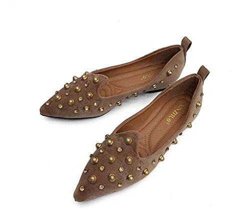 Frauen Pump Ballerinas Loafer Mode Spitz Nieten Flache Schuhe Slip auf Punk Casual Gericht Schuhe Eu Größe 35-39 Brown