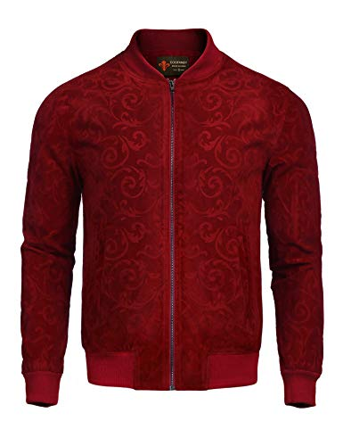 Men Jackets Suede (COOFANDY Men's Floral Suede Bomber Leather Jacket Casual Varsity Baseball Coat, Wine Red, Large)