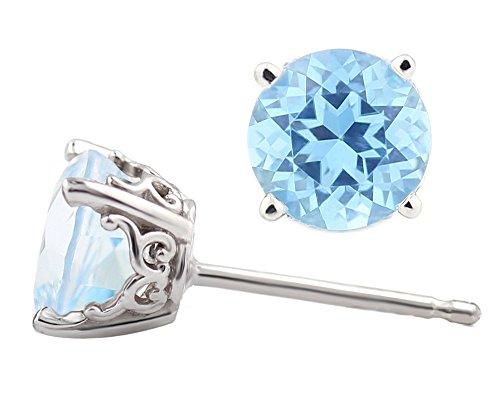 White Gold Topaz - Solid 14k White Gold Gemstone Stud Earrings, 6mm Round each (Ice Blue Topaz)