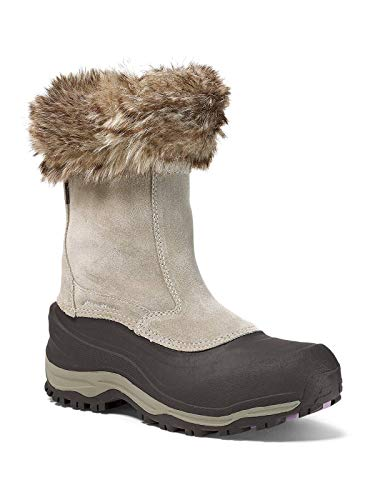 Eddie Bauer Women's Snowfoil Zip Boot, Stone Regular 6.5M