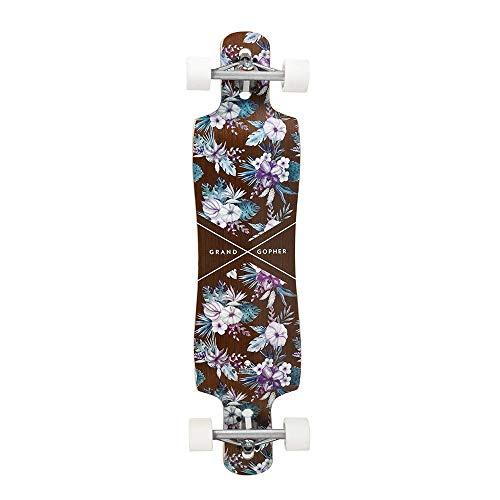 Grand Gopher Floral Wood Skate Board Cruiser Longboard by Hamboards (Image #1)