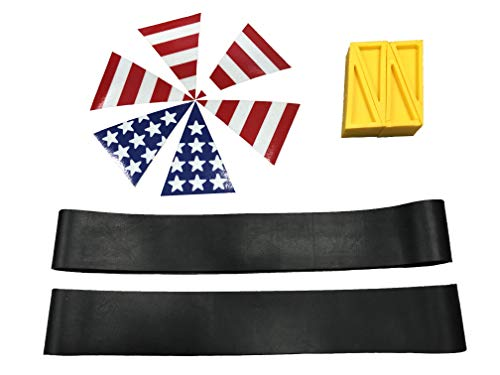LINE2design Firefighter EMT Paramedic Fire Helmet Kit - Traditional Fire Helmet - Rubber Helmet Bands - USA Helmet Flag Set - Sprinkler Door Open Wedges - Firefighter Wedge -