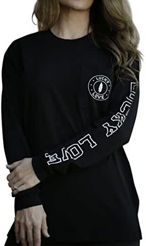 Lucky Love Graphic Long Sleeve T Shirt for Women & Plus Size - Relaxed Fit & Longer Length