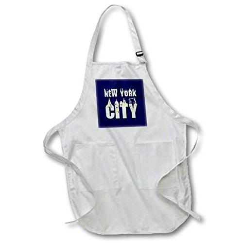 3dRose Alexis Design - American Cities - Elegant text New York City, landmarks, shining windows on blue - Full Length Apron with Pockets 22w x 30l (apr_286455_1)