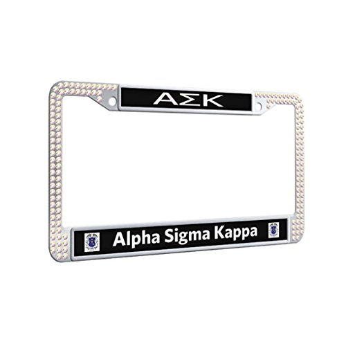 Alpha Sigma Kappa Protector License Plate Frame Bling Slim Car License Plate Covers With Bolts Washer Caps,Colorful