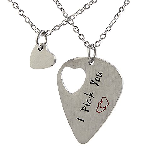 Sunflower Jewellery Guitar Pick Necklace His Her Gift Musician Necklace I Pick You Cut Out Heart Stainless Steel Valentines Gift(Guitar Pick Necklace + Heart Necklace) -
