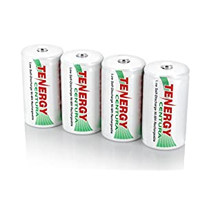 Combo: 2 Cards of Tenergy Centura NiMH D size 8000mAh Low Self Discharge Rechargeable Batteries (Total 4 pcs)