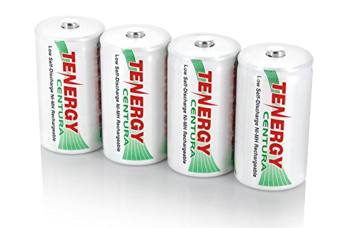 2 Cards: 4 pcs Tenergy Centura C Size 4000mAh Low Self Discharge NiMH Rechargeable Batteries