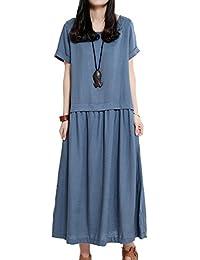 Women's Sundress Linen Dresses Cotton Dress Casual Dresses Loose Fitting Dress