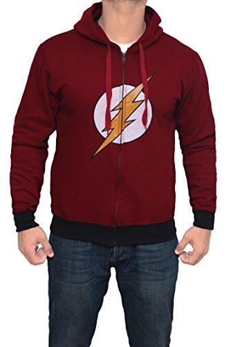 The Flash Costume Hoodie (Miracle(Tm) Batman Arkham Hoody - Mens 100% Cotton Zip up Hoodie (L, Flash (Maroon)))