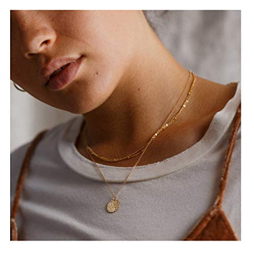 Forevereally Dainty Layered Beaded Chain Choker Necklace Hammered Disc Pendant Necklace Coin Necklace 14K Real Gold Plated Necklace Simple Necklace for Women (Pendant Disc)