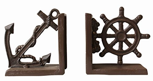 - Nautical Anchor & Ship's Wheel Metal Bookends Set Functional Display 9.5x14x26cm