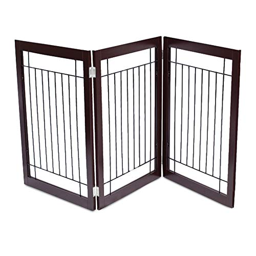 Decorative Mdf Panels (Internet's Best Traditional Wire Dog Gate | 3 Panel | 30 Inch Tall Pet Puppy Safety Fence | Fully Assembled | Durable MDF | Folding Z Shape Indoor Doorway Hall Stairs Free Standing | Espresso)