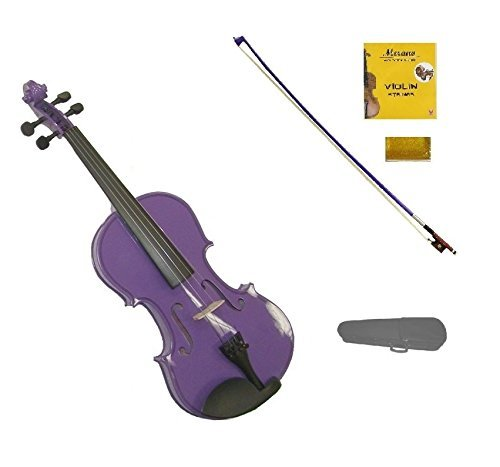 Merano 1/2 Size Purple Violin with Purple Bow, Case, Free Rosin and Extra Set of Strings for Beginners, Students, Gifts, Toys