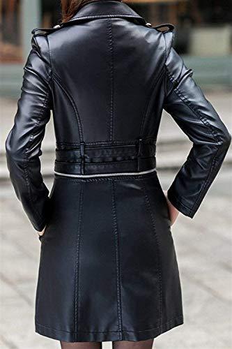 Revers Moto Fake Femmes En Mode À Élégante Manteaux Automne Fit De Hiver Slim Biker Manches Longues Veste Fille Veste Chic Schwarz De Cuir Vintage Double Veste Poitrine 06qxS
