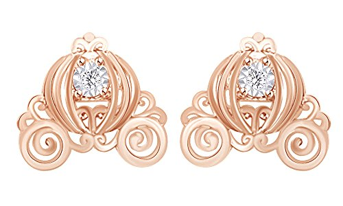 Mothers Gift Twinkle Cinderella Diamond Accent Carriage Stud Earrings In 14K Rose Gold Over Sterling Silver