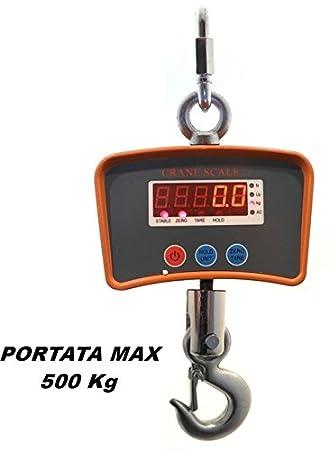 Báscula digital con gancho a batería recargable Carga Max 500 kg: Amazon.es: Hogar