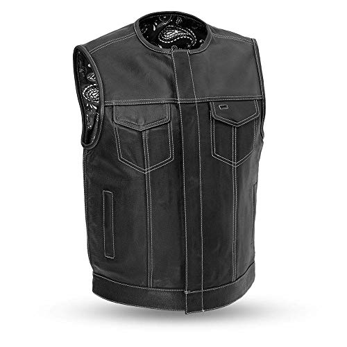 Men's Motorcycle Club Leather Vest Paisley Lining (Bandit) (XL)