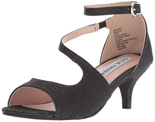 Steve Madden Girls' JNGHTOUT Heeled Sandal, Black, 2 M US Little Kid